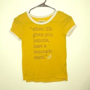 Yellow and white T-shirt